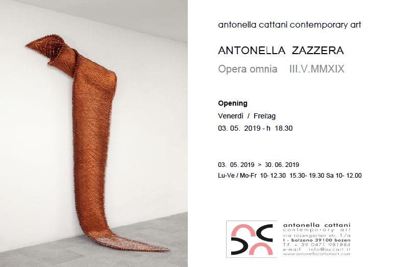 03.05.2019 – 30.06.2019 | Antonella Zazzera. Opera omnia III.V.MMXIX – ANTONELLA CATTANI CONTEMPORARY ART I Bolzano